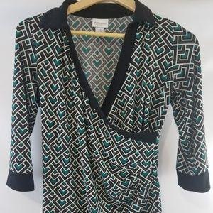 Motherhood maternity green black blouse top sz sm